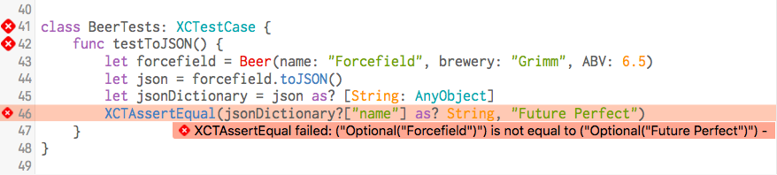 "Good Failure Message: ""Forcefield"" is not equal to ""Future Perfect"""