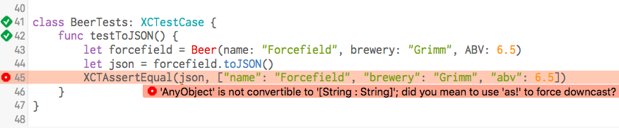Error Message: 'AnyObject' is not convertible to '[String : String]'; did you mean to use 'as!' to force downcast?