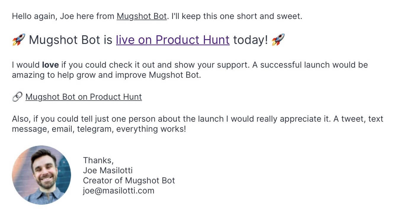 Screenshot of email campaign announcing Product Hunt launch